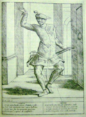 Арлекин, рисунок Мителли (XVII в.)