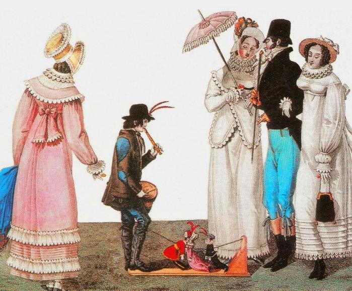 Кукольное представление гравюра. Франция. 1815