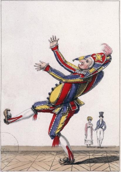 Полишинель, гравюра мастерской Малёвра, 1826
