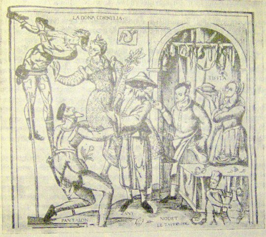 Сцена из комедии дель арте. Французская гравюра XVI в.