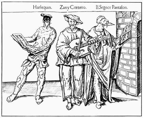Сцена из представления комедии дель арте. XVI в
