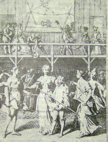 Сценка в ярмарочном театре. Французская гравюра XVII в.