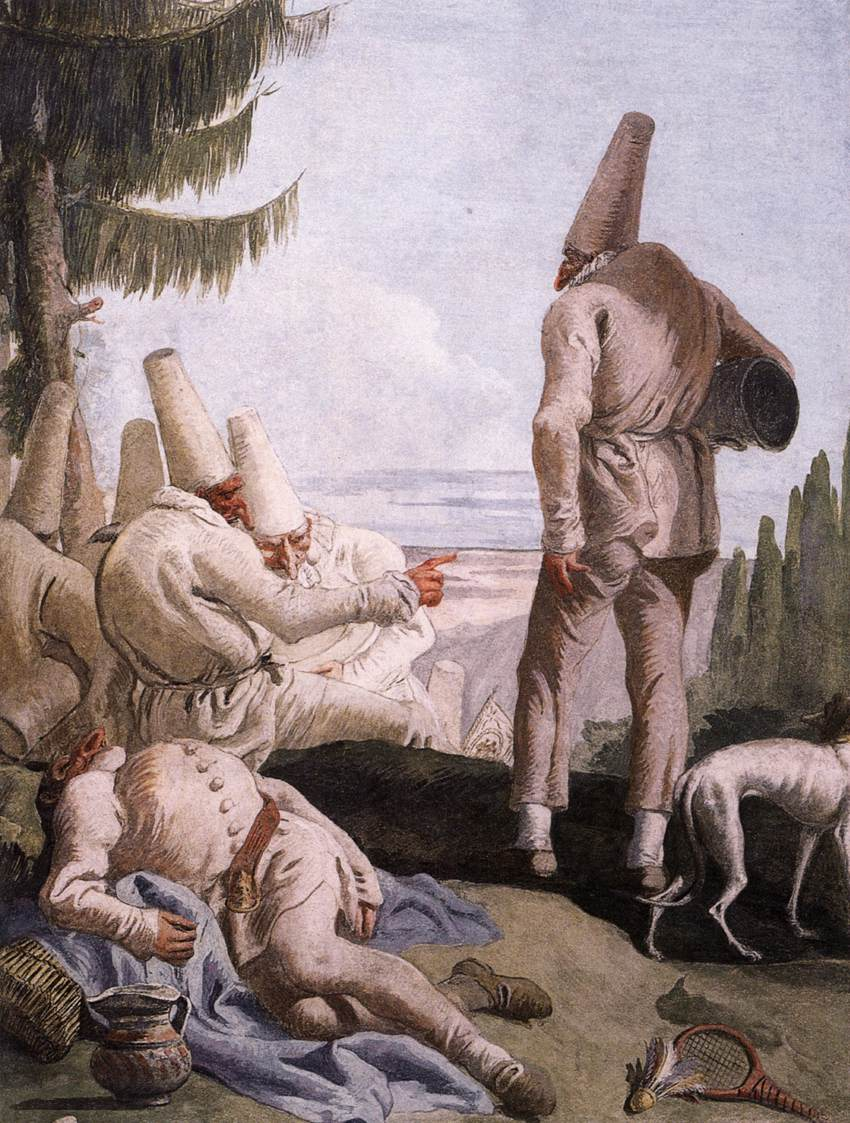Уход Пульчинеллы, фреска Дж.Д.Тьеполо (1797)