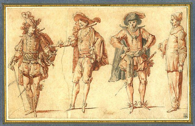 Claude Gillot Four Commedia dell'Arte Figures  early XVIII century